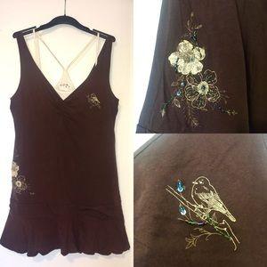 Roxy Brown Beaded Summer Mini Dress - Sz L
